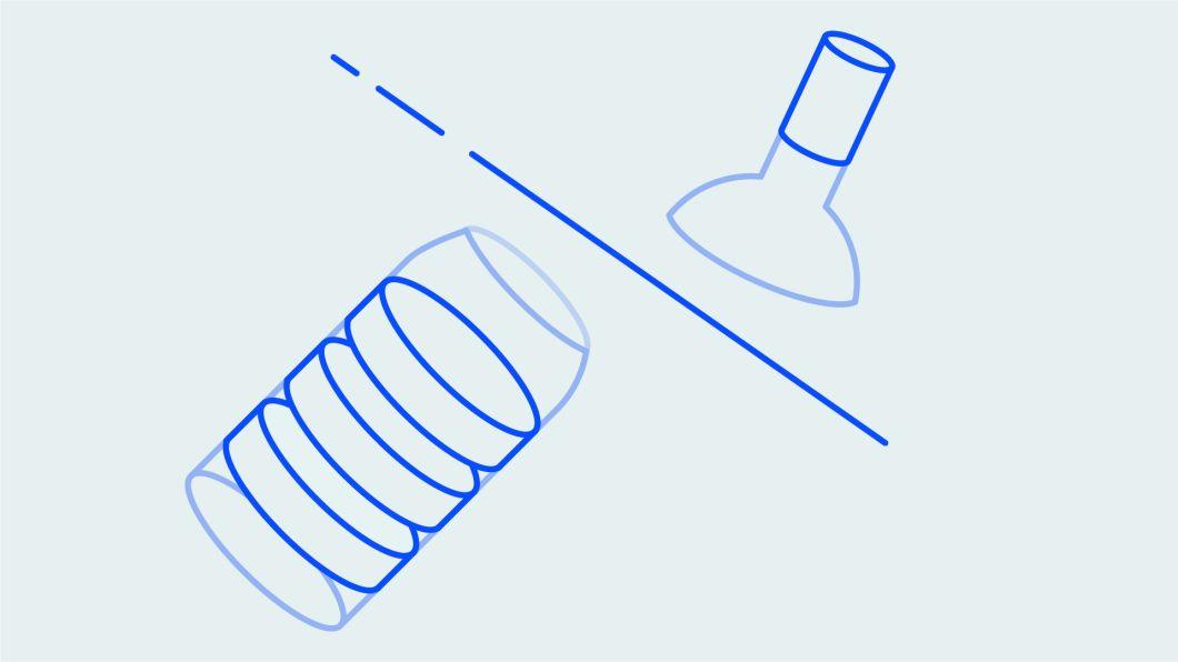 Illustration. A bottle gets cut open.