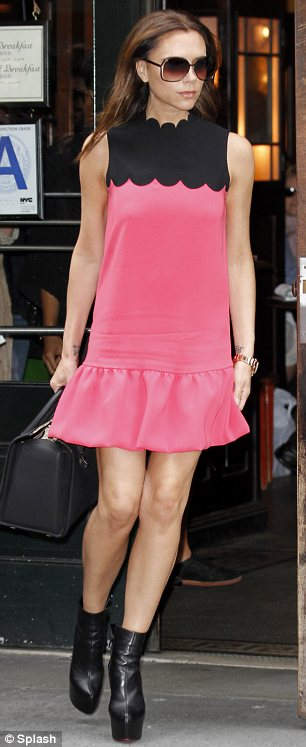 Victoria beckham pink scallop dress