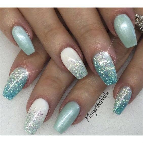 Soft Frost and White Creative Nails