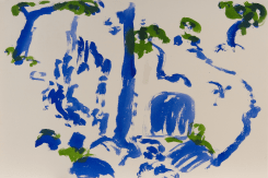 Hans van Hoek, Waterfall Tree-Rock (blue/green)