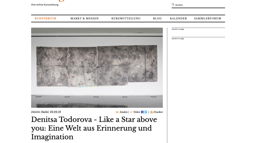 Denitsa Todorova, Coverage of solo exhibition 'Like A Star Above You' by Denitsa Todorova in STRABAG Art Foundation, Vienna, 2018, by ArtMagazine.cc