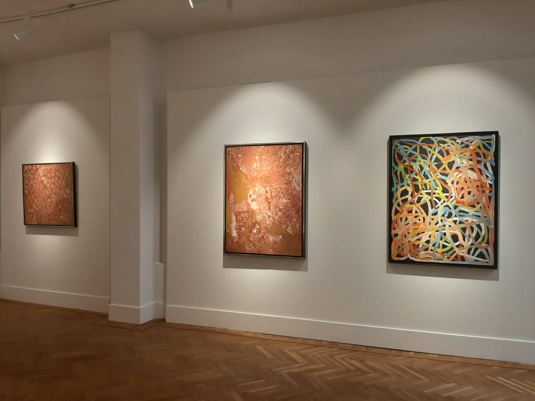 "Origins, Australian Aboriginal Art, George 'Hairbrush' Tjungu, Sarrita & Tarisse King, Kudditji Kngwarreye, Ronnie Tjampitjina, Angelina Ngale Pwerle, ""Mrs. Bennett"", Nyanyuma Napangati, Emily Kame Kngwarreye, Naata Nungurrayi, Freddie Timms, Warlimpirrnga Tjapaltjarri,"