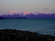 Mountain view at Auke Bay, Alaska, showing distinctive purple tinges.