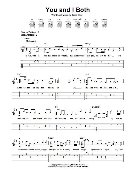 You and i both chords jason mraz