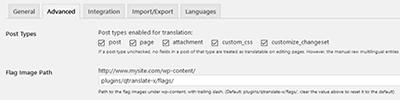 qtranslate language settings advanced tab