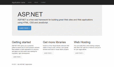 Visual Studio Default MVC project website