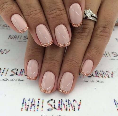 Unique Rosy French with Glitter Tips