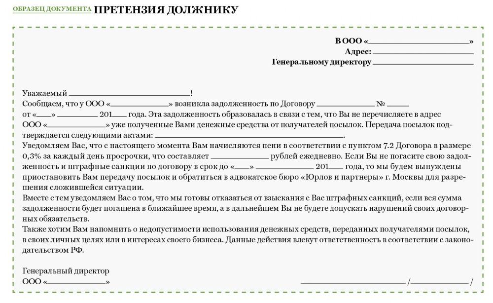Претензионное письмо о погашении задолженности образец