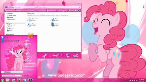 Pinkie pie windows 7 theme