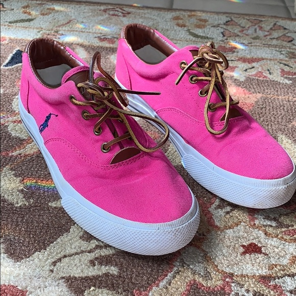 Hot pink polo sneakers