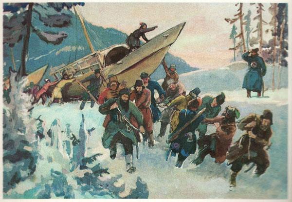 Открытка из комплекта «Русские путешественники и мореплаватели». Ерофей Хабаров
