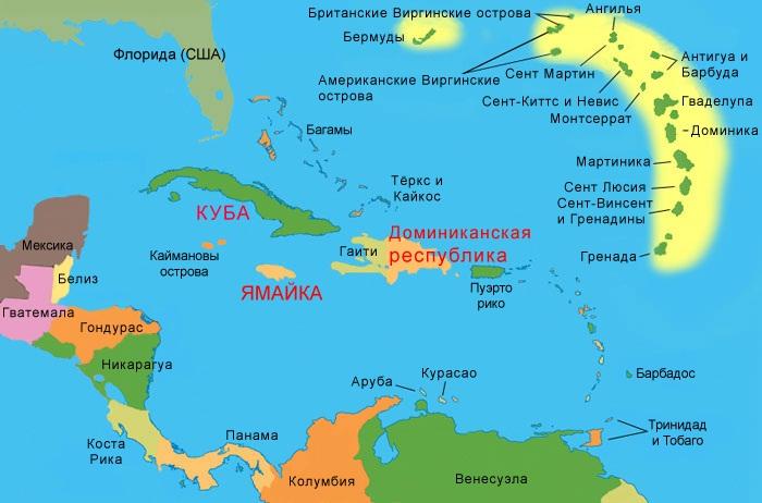 Карибское море на карте где