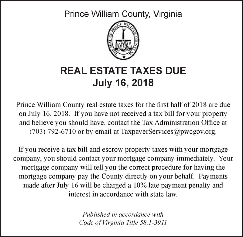 Prince william county real estate taxes