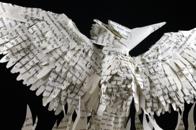 jamie b hannigan mockingjay book sculpture - above