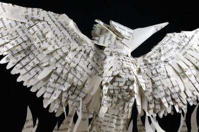 jamie b hannigan mockingjay book sculpture - above