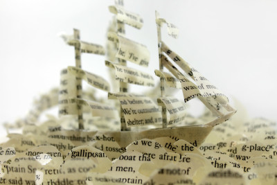 Ship - Treasure Island Book Sculpture by Jamie B. Hannigan