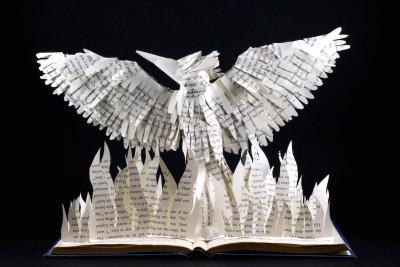 jamie b hannigan mockingjay book sculpture - reverse