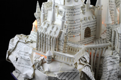 "Lit Close Up 1 of ""Harry Potter and the Sorcerer's Stone"" Book Sculpture"