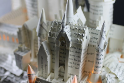 "Lit Close Up 2 of ""Harry Potter and the Sorcerer's Stone"" Book Sculpture"