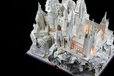 "Lit View From Right of ""Harry Potter and the Sorcerer's Stone"" Book Sculpture"