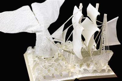 Moby Dick Custom Book Sculpture left view 1