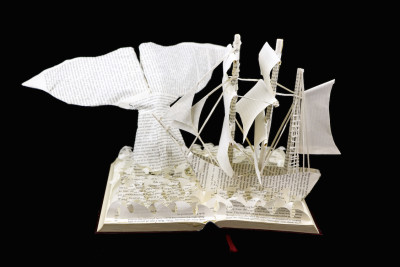Moby Dick Custom Book Sculpture front view 2