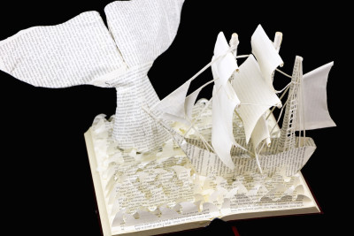 Moby Dick Custom Book Sculpture above view 2