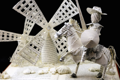 Custom Book Sculpture by Jamie B. Hannigan - Don Quixote of the Mancha - Detail 2
