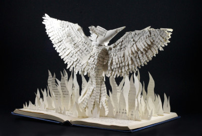 jamie b hannigan mockingjay book sculpture - front angled