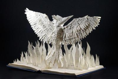jamie b hannigan mockingjay book sculpture - front angled