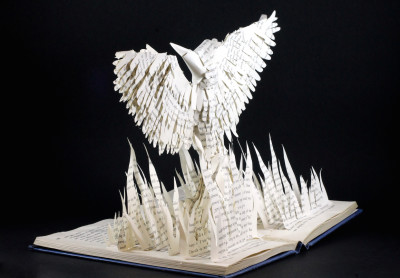 jamie b hannigan mockingjay book sculpture - reverse angled