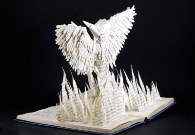 jamie b hannigan mockingjay book sculpture - reverse angled
