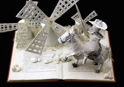 Custom Book Sculpture by Jamie B. Hannigan - Don Quixote of the Mancha - Above View 2