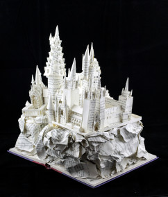 "Unlit View Three of ""Harry Potter and the Sorcerer's Stone"" Book Sculpture"