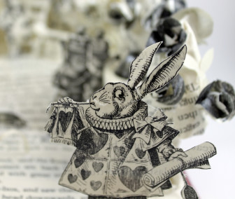 White Rabbit - Alice in Wonderland Book Sculpture by Jamie B. Hannigan