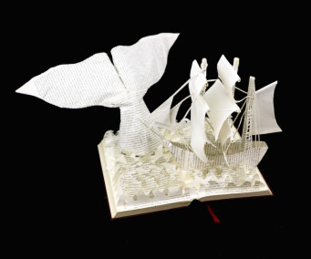 Moby Dick Custom Book Sculpture above view 1