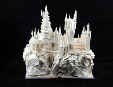 "Lit Front View of ""Harry Potter and the Sorcerer's Stone"" Book Sculpture"