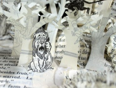 Lion - Wizard of Oz Book Sculpture by Jamie B. Hannigan