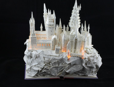 "Lit View From Behind of ""Harry Potter and the Sorcerer's Stone"" Book Sculpture"