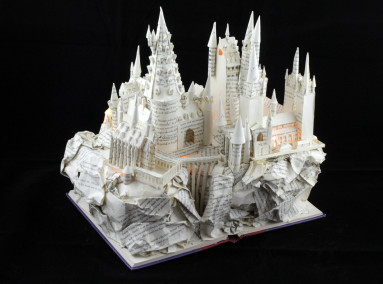 "Lit View From Left of ""Harry Potter and the Sorcerer's Stone"" Book Sculpture"
