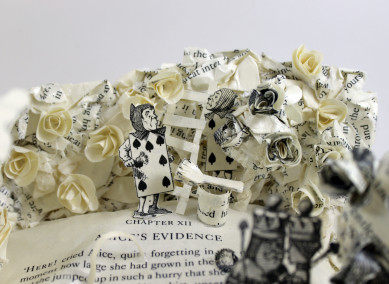 Rose Garden - Alice in Wonderland Book Sculpture by Jamie B. Hannigan