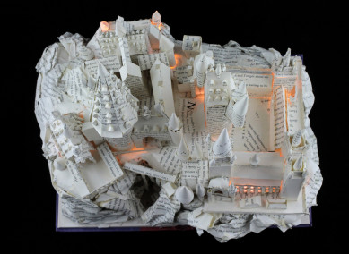 "Lit View From Above of ""Harry Potter and the Sorcerer's Stone"" Book Sculpture"