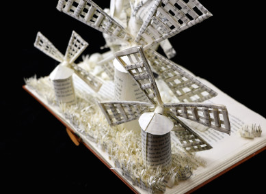 Custom Book Sculpture by Jamie B. Hannigan - Don Quixote of the Mancha - Reverse View