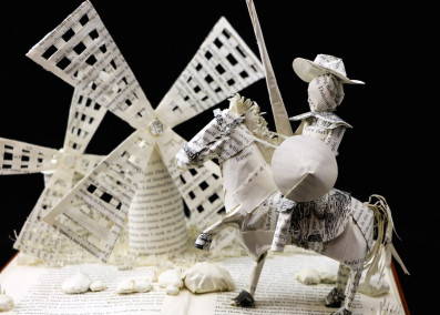 Custom Book Sculpture by Jamie B. Hannigan - Don Quixote of the Mancha - Detail 1