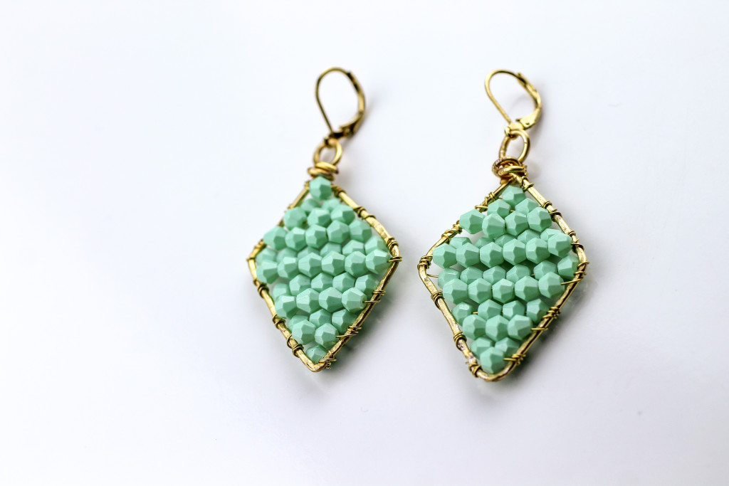DIY Mint Beaded Earrings - Jamie B Hannigan