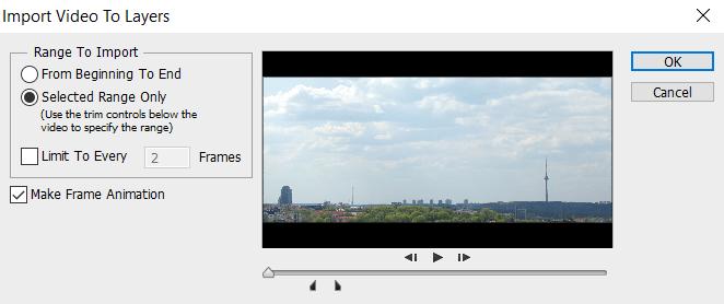 выбираем отрезок видео в Photoshop