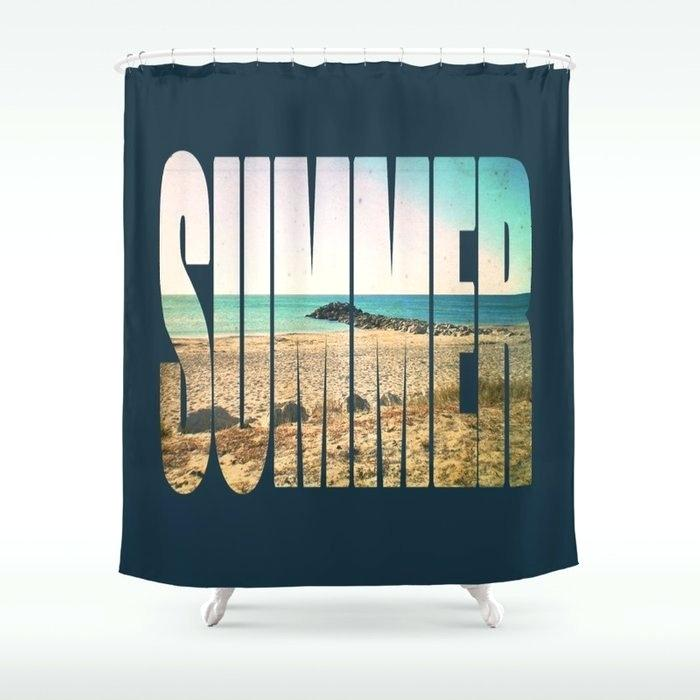 Cindy crawford seascape fabric shower curtain