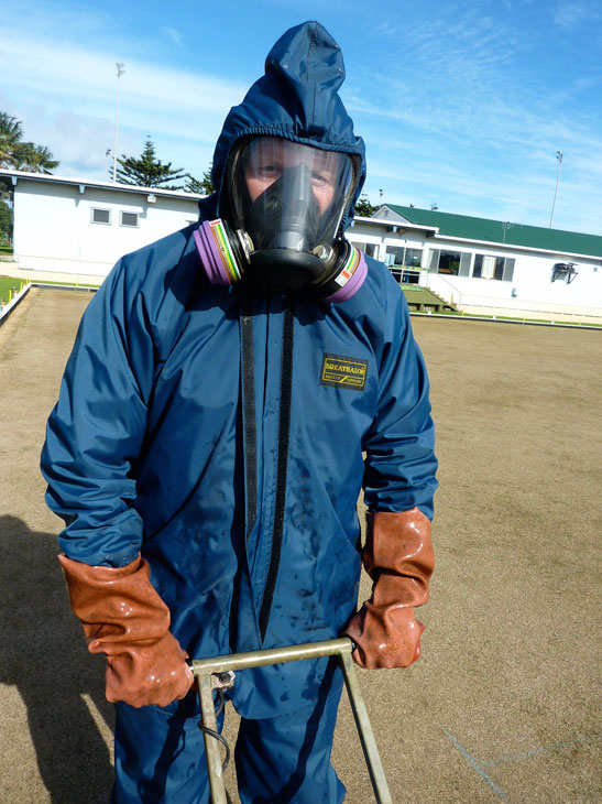 chemical suit not needed with biological farming