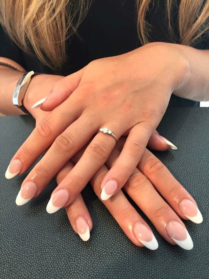 Almond french tip nails