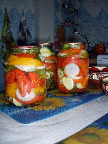 Салат из огурцов капусты и помидор на зиму без стерилизации